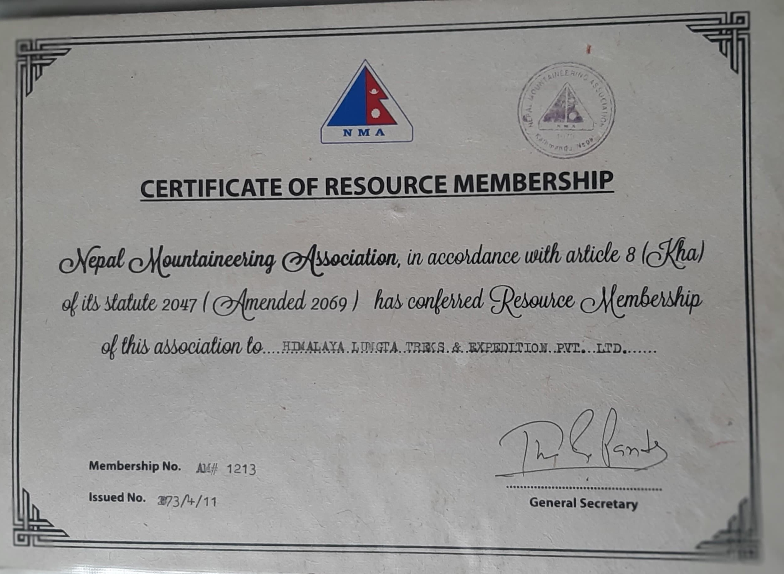 Certificate from Nepal Mountaineering Association