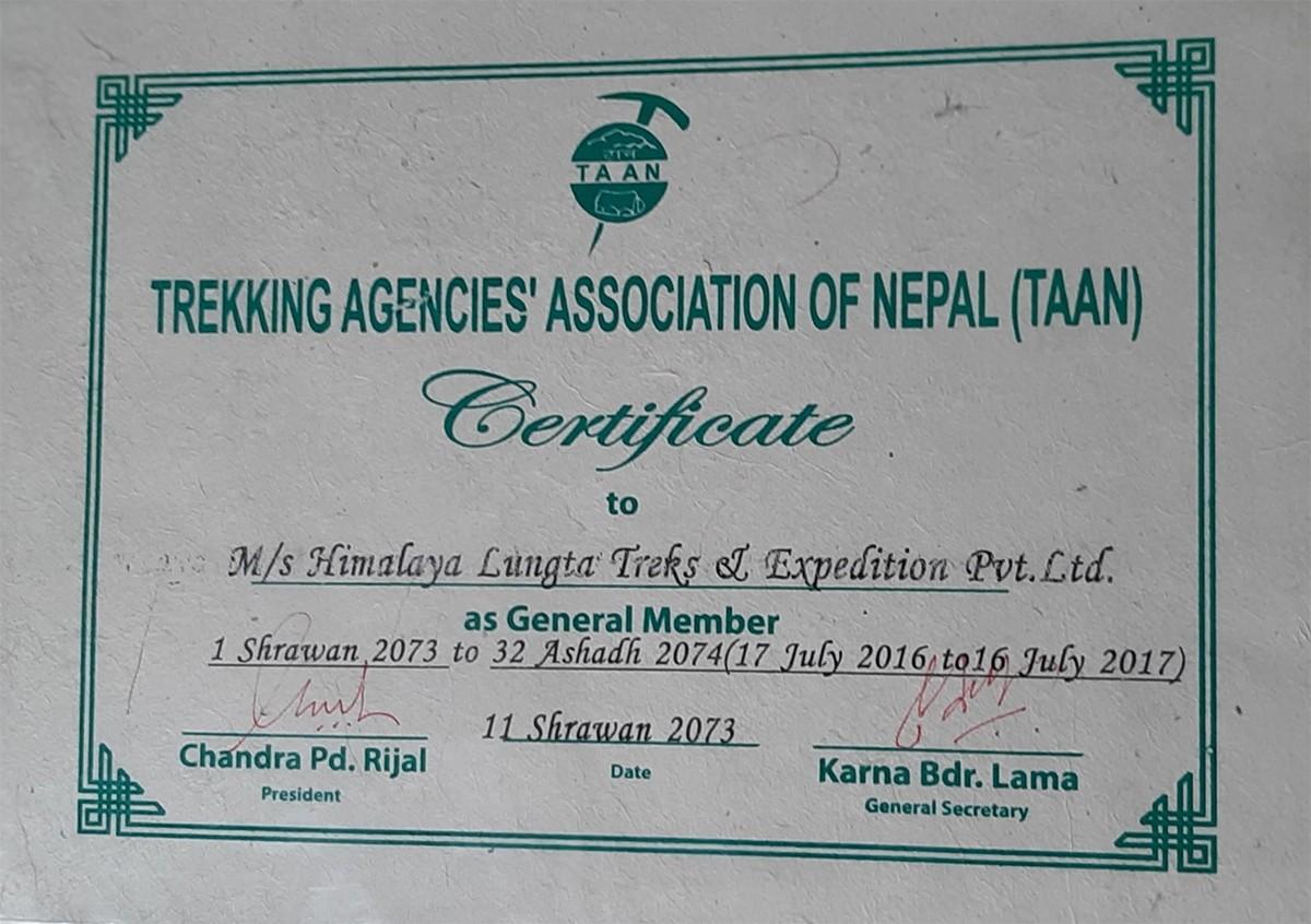 Certificate from Trekking Agencies' Association of Nepal